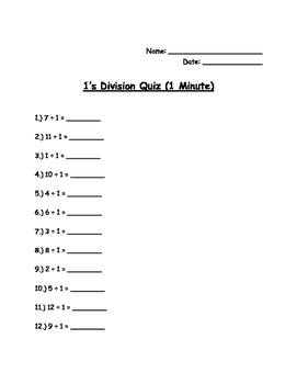 Timed Division Tests / Quizzes for Fluency