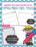 Timed Math Fact Tests - Addition and Subtraction to 20