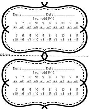 Timed Math Facts Test Addition (1-10 and Doubles)