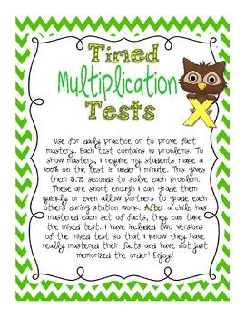 Timed Multiplication Test Practice