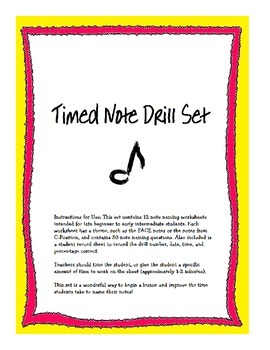 Timed Note Naming Drills (Set of 12)
