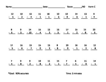 Timed Subtraction Fact Fluency through 20