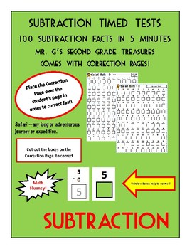 Timed Subtraction Sheets with Correcting pages