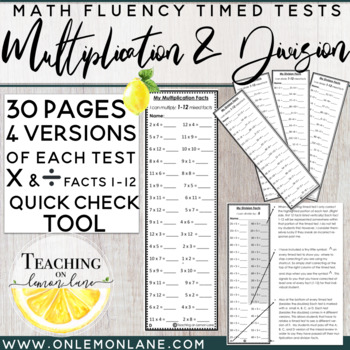 Timed Test Multiplication and Division Facts BUNDLE (1-12) {w/ Quick Check Tool}