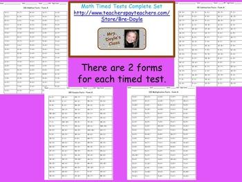 Timed Tests Complete Set