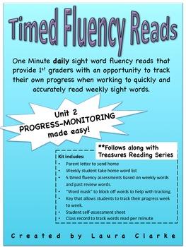Timed Treasures Unit 2 Sight Word Fluency Reads- RTI/ prog