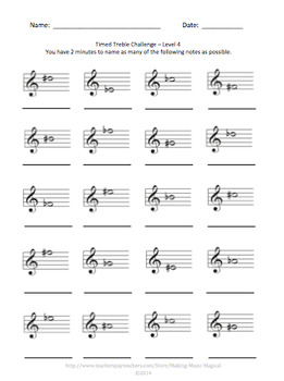 Timed Treble Challenge - Treble Clef Note Identification Practice