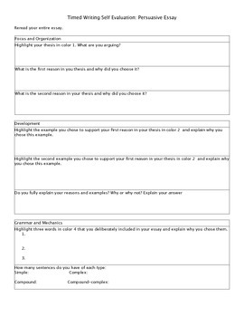 Timed Writing Self Evaluation for Persuasive Essays