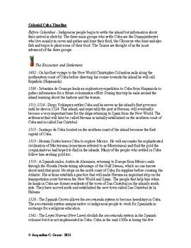 Timeline - Cuba - Caribbean History