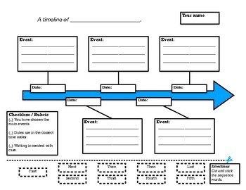 Timeline Graphic Organizer - With Interactive Cut and Paste for Fun Sequencing!
