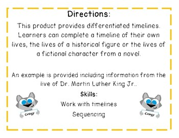Timeline Graphic Organizers Differentiated