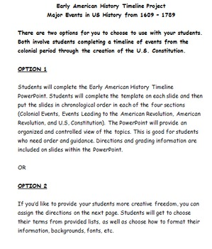 early american history timeline project colonies constitution