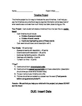 Timeline Project & Rubric ~ Editable