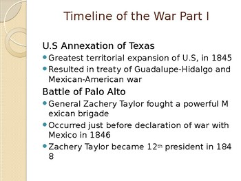 Timeline Review of the Mexican American War