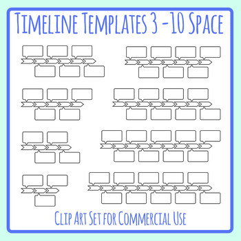 Timeline Templates with Blank Detail Boxes Clip Art Set for Commercial Use