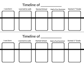 Timeline Worksheet for Elementary
