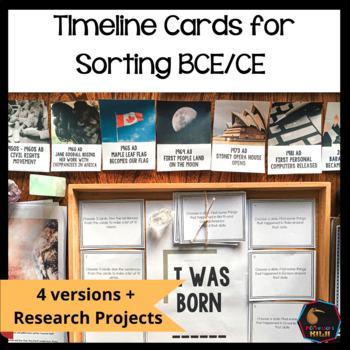 History Timeline cards BCE CE + BC AD
