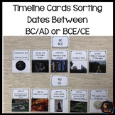 History Timeline cards BCE CE + BC AD