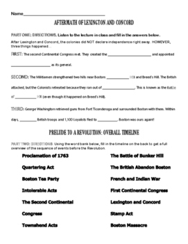Events Leading to the American Revolution - Guided Notes and Practice Worksheet