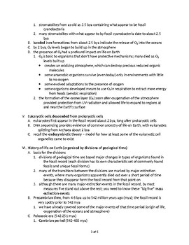 Timeline of Development of Life - Quick Review Biology (Handout)