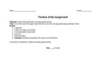 Timeline of Me Assignment
