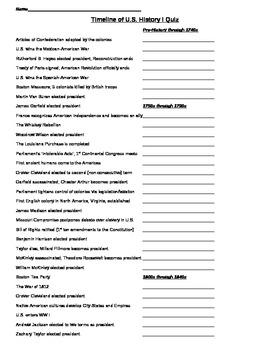 Timeline of U.S. History I Quiz