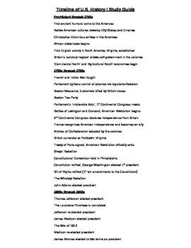 Timeline of U.S. History I Studyguide/Key