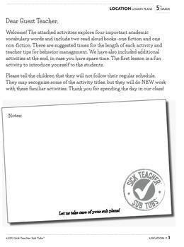 Vocabulary Sub Plans: Sub Tubs® Timeline Lesson Plan/Grade 6 (elementary)