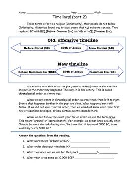 Timelines and Sources Unit Worksheets