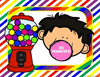 Timer: Countdown 20 Minutes (or less): Bubble Gum Theme: Fun for Math Centers