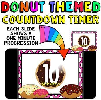 timer countdown 10 minutes or less donut theme fun for math centers
