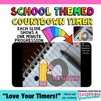 Timer: Countdown 10 Minutes (or less): Pencil Theme for Back to School