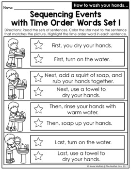 time order words no prep packet by the moffatt girls tpt. Black Bedroom Furniture Sets. Home Design Ideas
