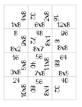 Times Eight Multiplication Puzzle