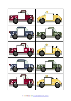 Times Something - Transport Game - 2-12  Times Tables - 15 pages