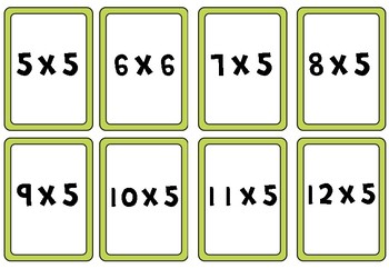Times Table Activity Cards