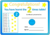 Times Table Certificates 2x-12x