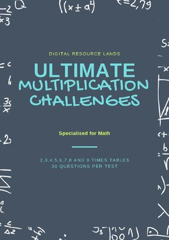Times Table Challenge Sheets 2-9x (4 Tests per table) Multiplication