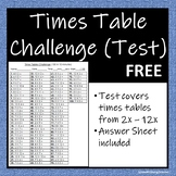 Times Table Challenge (Test) inc Answer Sheet