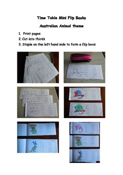 Times Table Flip Books - Australian Animal Theme