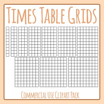 Times Table Grids Clip Art Set for Commercial Use