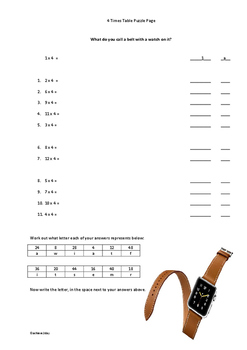 Times Table Puzzle Pages