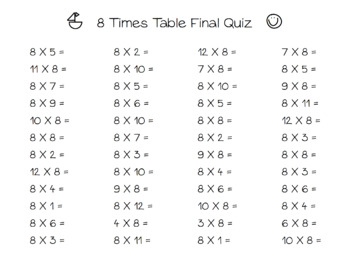 Times Table Quizes (1-12) for Multiplication Facts