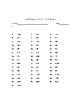 Times Table Quizzes