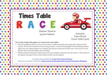 Times Table Race Game - Printable - Fun & Engaging Way To Practice Times Tables