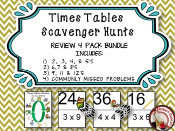 Beginning Multiplication Scavenger Hunts - Review 4 pack