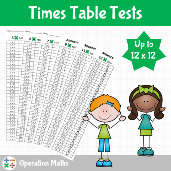 Times Table Tests up to 12 x 12