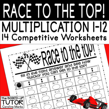 Times Tables 1-12 RACE TO THE TOP! Beat the boredom ADD/ADHD A4 UK