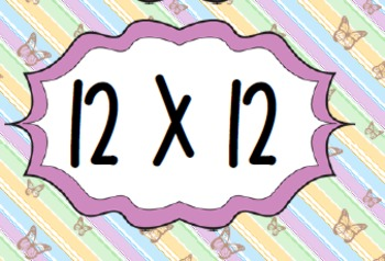Times Tables - 10x,11x,12x- Butterflies Flash Cards