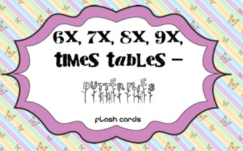 Times Tables - 6x,7x,8x,9x - Butterflies Flash Cards